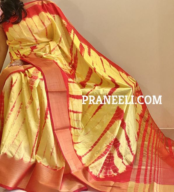 Yellow Red Shibori Tussar Silk Saree WIth Blouse Piece