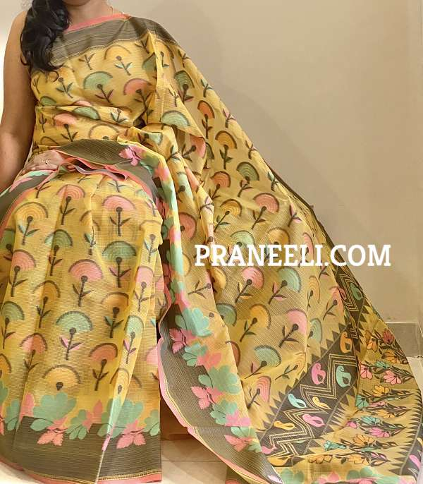 Yellow Pattola ( Double Ikkat) Banarasi Masrise Silk  Saree  &  Blouse Piece