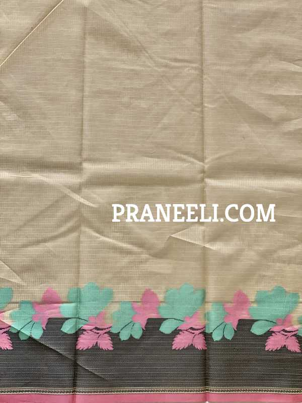 Khaki Brown Pattola ( Double Ikkat) Banarasi Masrise Silk  Saree  &  Blouse Piece