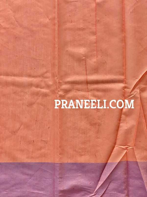 Pure Light Orange Blue Handloom Jamdani Muslin Silk Saree With Zari Weaving Blouse Piece