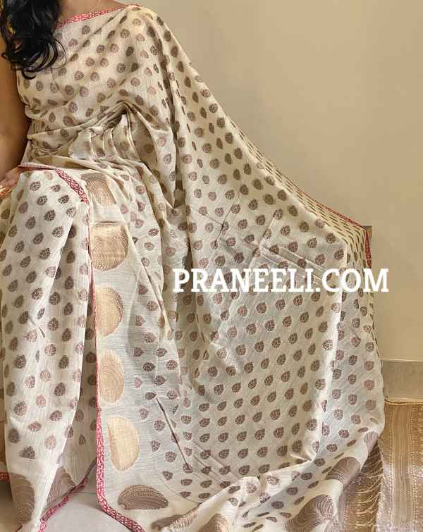 Beige Ghicha Silk Kasavu Saree & Blouse Piece