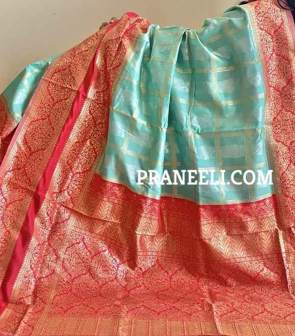 Sky Blue Red Banarasi  Cotton Silk Saree  with Zari Weaving & Blouse Piece