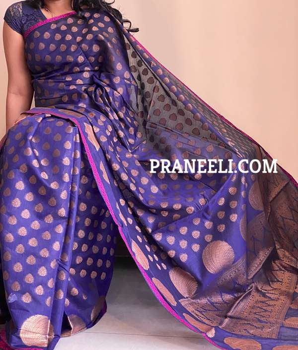 Blue Ghicha Silk Kasavu Saree & Blouse Piece