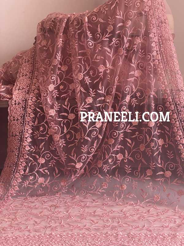 Pastel Pink Heavy Embroidery Soft Net Designer Saree with Pink Border and Pink Blouse Piece