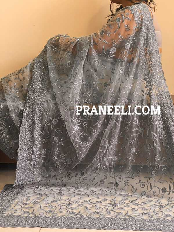 Pastel Grey Heavy Embroidery Soft Net Designer Saree with Grey Border and Grey Blouse Piece