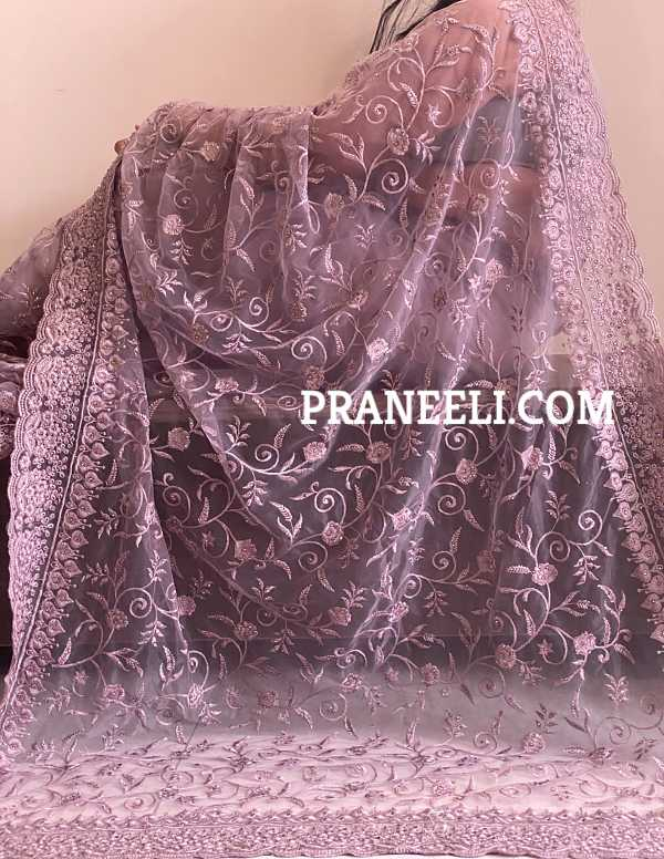 Pastel Purple Heavy Embroidery Soft Net Designer Saree with Purple Border and Purple Blouse Piece