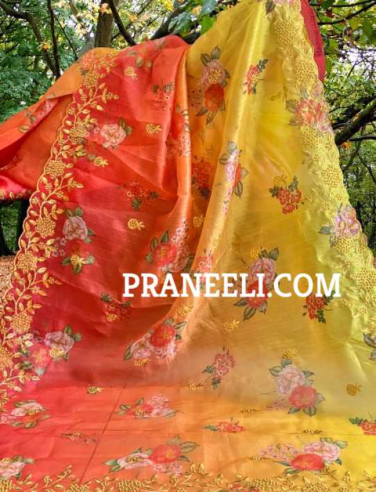Heavy Red Yellow Organza Saree Embroidered with Work & Blouse Piece