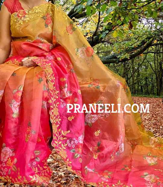 Heavy Magenta Yellow Organza Saree Embroidered with Work & Blouse Piece