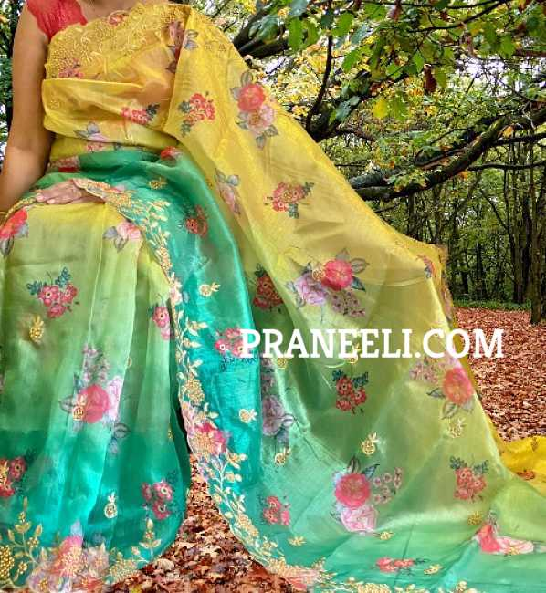 Heavy Yellow Green Organza Saree Embroidered with Work & Blouse Piece