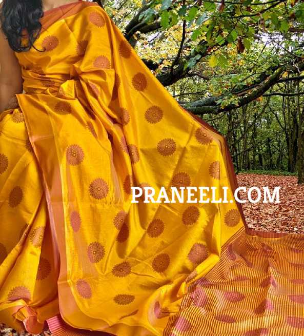 Mustard Yellow Soft Tussar Silk Saree  &  Blouse Piece