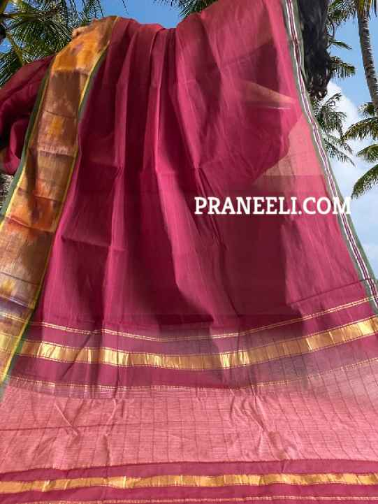 Maroon Pochampally Cotton Saree & Blouse Piece