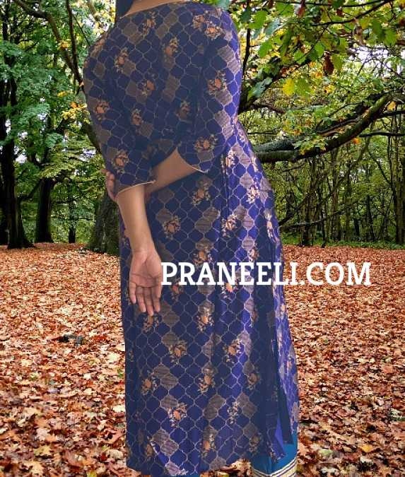 Blue Cotton Anarkali  Kurta/ Kurti