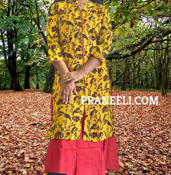 Yellow Printed Rayon A Line Kurti WIth Inner