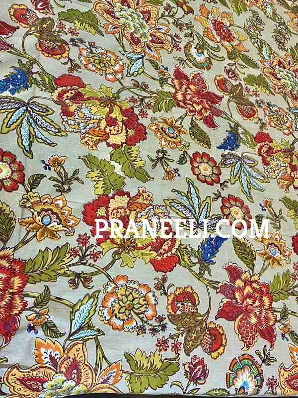 Red Green Blue Mulicolour Floral Cotton Bedsheet + 2 Pillow Covers King Size ( 108 Inch X 100 Inch)