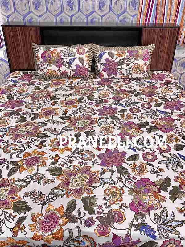 Purple Green White Mulicolour Floral Cotton Bedsheet + 2 Pillow Covers King Size ( 108 Inch X 100 Inch)