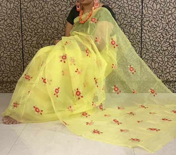 Yellow Organza Embroidered Saree With Thread Work & Bangalori Silk Blouse Piece - Praneeli