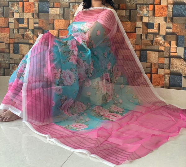 Blue Pink Designer Organza Digital Print Saree with Blouse Piece - Praneeli