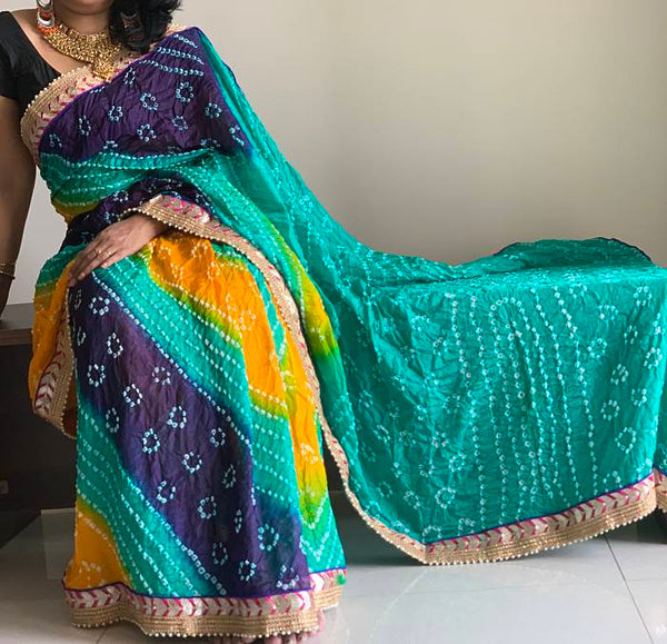 Green Yellow Blue Bandhani Silk Saree With Blouse Piece - Praneeli