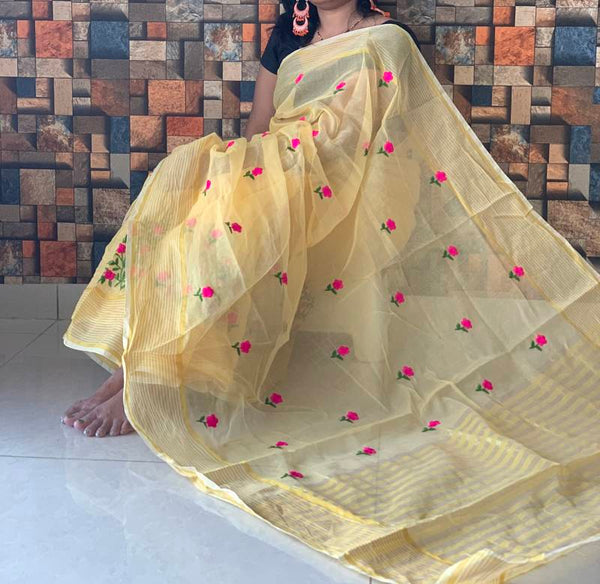 Yellow Kota Doriya Cotton  Silk Saree With Blouse Piece - Praneeli
