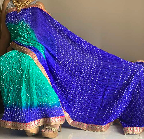Blue Bandhani Silk Saree With Blouse Piece - Praneeli