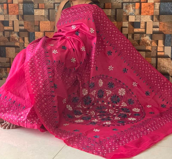 Magenta Handloom Katha Work Tussar Silk Saree  &  Seperate Blouse Piece - Praneeli