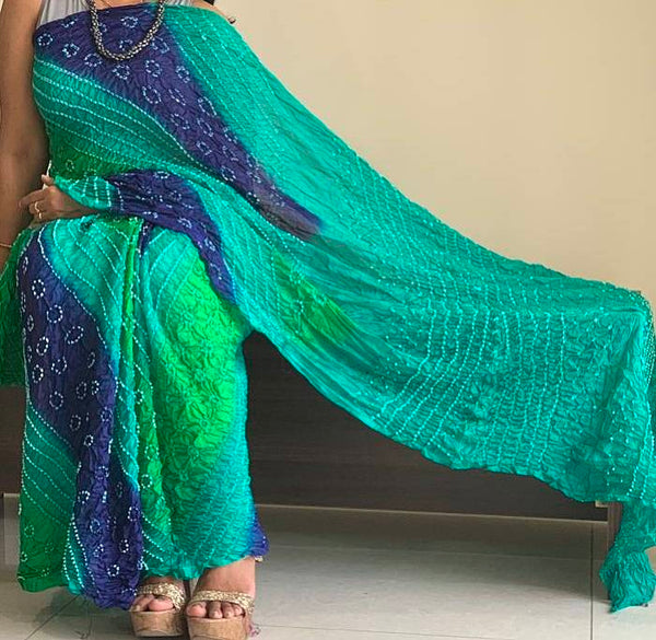 Blue Green Tapeta Silk Bandhani  Bandhej Saree With Blouse Piece - Praneeli