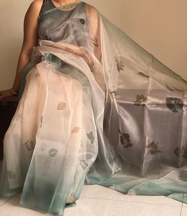 Olive Green & Cream Designer Organza Digital Print Saree with Blouse Piece - Praneeli