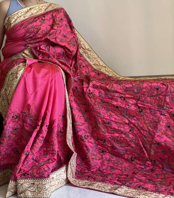 Magenta Handloom Katha Work Tussar Silk Saree Embroidered  &  Blouse Piece - Praneeli