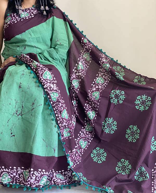 Green Hand Block Printed Cotton Saree With Pompom Jaipuri Print - Praneeli