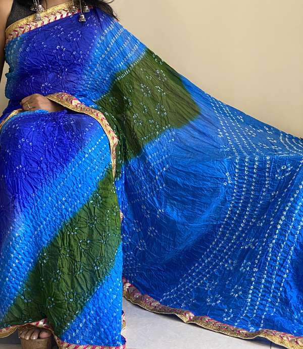 Blue Green Tapeta Silk Bandhani  Saree With Blouse Piece - Praneeli