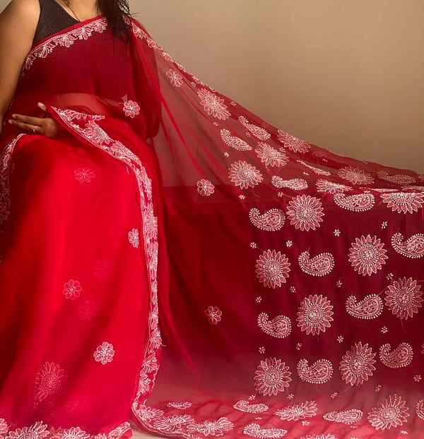 Red Chikankari Work Georgette Saree With Blouse Piece - Praneeli