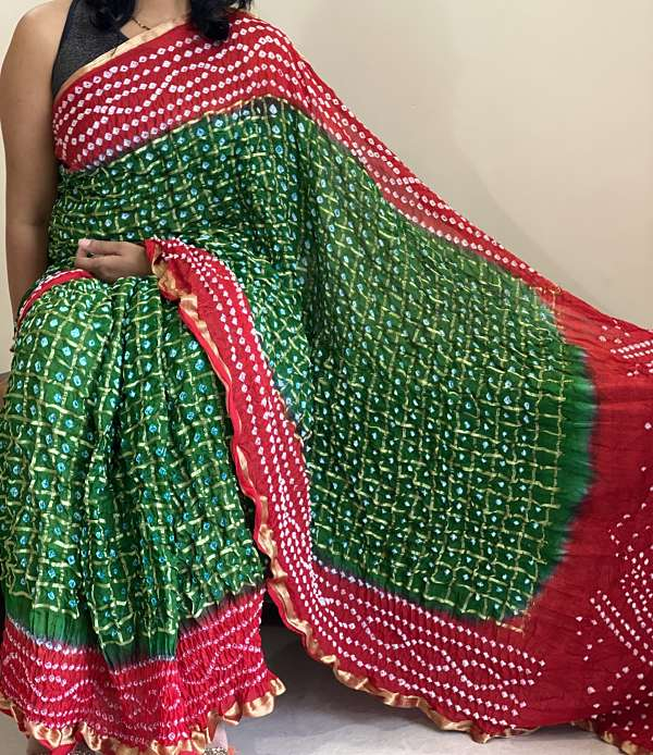 Green Red Bandhani Bandhej Tapeta Silk Saree With Blouse Piece - Praneeli