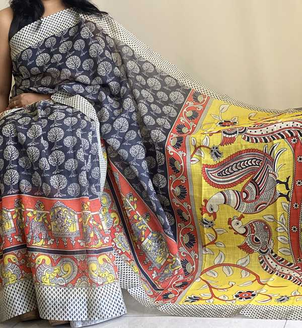 Black Yellow Kalamkari Linen  Saree With Blouse Piece - Praneeli