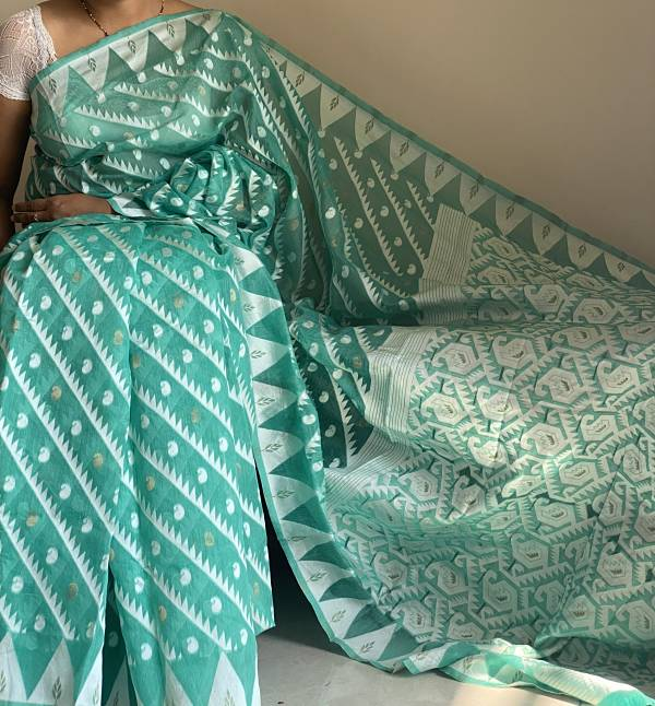 Green Dhakai Jamdani Chanderi Cotton Saree With Weaving & Blouse Piece - Praneeli