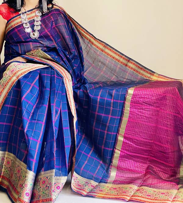Blue Kashmiri Cotton Silk Saree With Blouse Piece - Praneeli