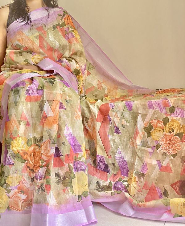 Multicolour Floral Linen Saree  with  Lavender Border & Blouse Piece - Praneeli