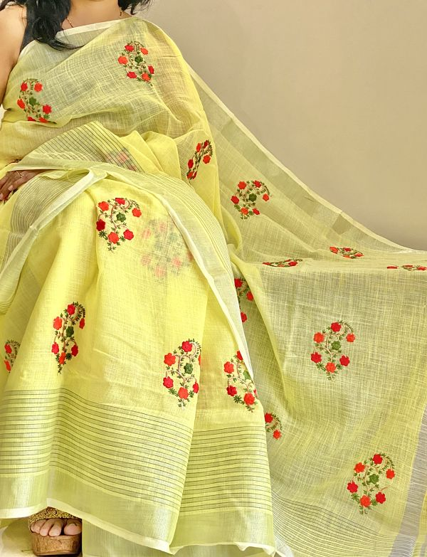 Yellow Embroidered Linen Saree  with Blouse Piece - Praneeli