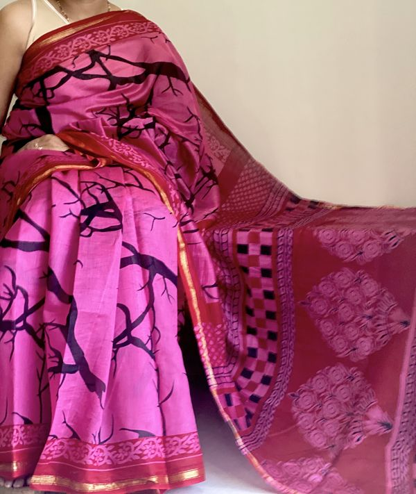 Magenta Chanderi Silk Saree with Blouse Piece - Praneeli