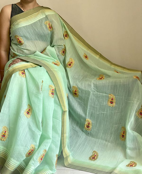 Green  Embroidered Linen Saree with Blouse Piece