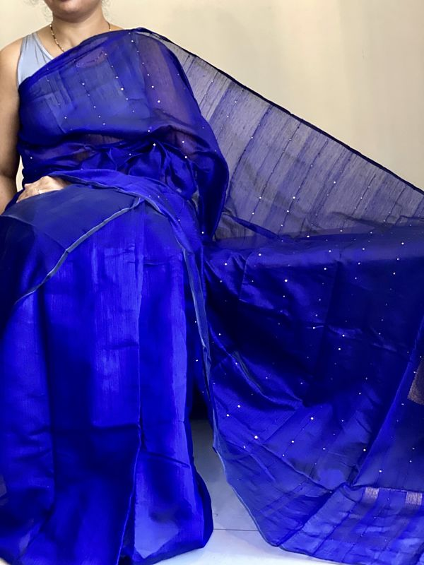 Blue Handloom Cotton Silk Saree With Sequence Work & Blouse Piece