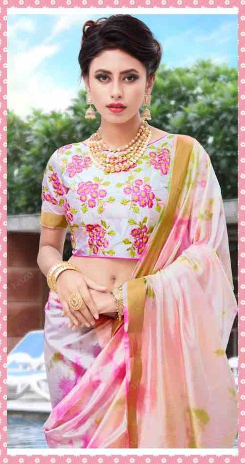 White & Pink Shibori Printed Silk Saree With Blouse Piece - Praneeli