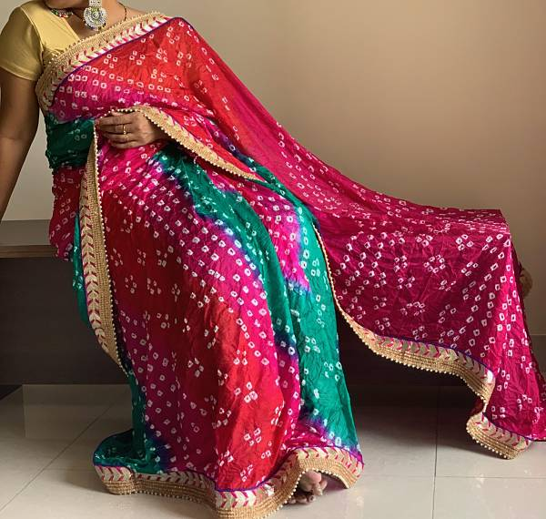 Red Green Pink Bandhani Silk Saree With Blouse Piece - Praneeli