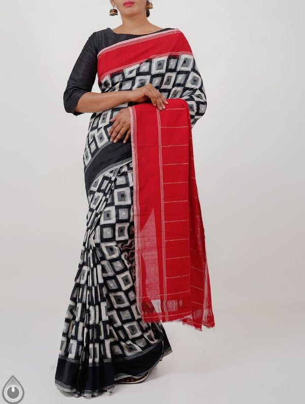 Red, Black, White Hand Block Printed Cotton Saree Jaipuri Print - Praneeli