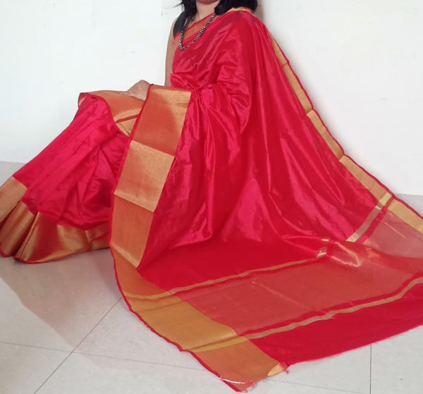 Red Tussar Silk Saree With Golden Strip Pallu &  Seperate Blouse Piece - Praneeli