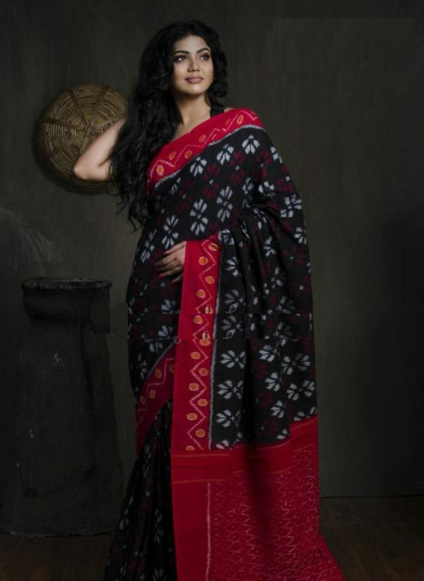 Red & Black Mulmul Cotton Ikkat Printed Saree With Blouse Piece - Praneeli