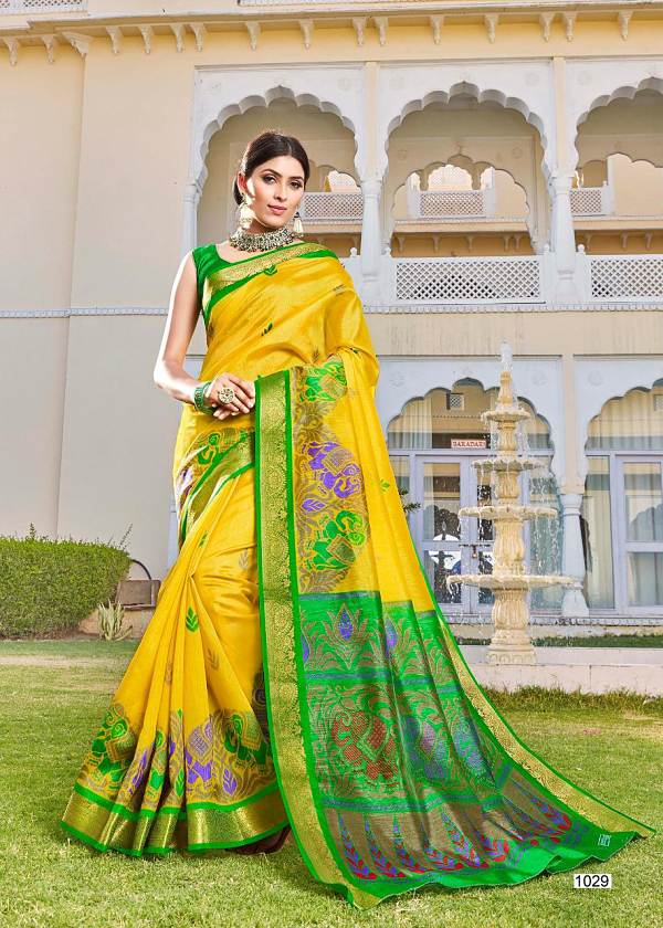 Yellow Kanchipuram Pattu (Kanchipattu) Silk Saree With Blouse Piece - Praneeli