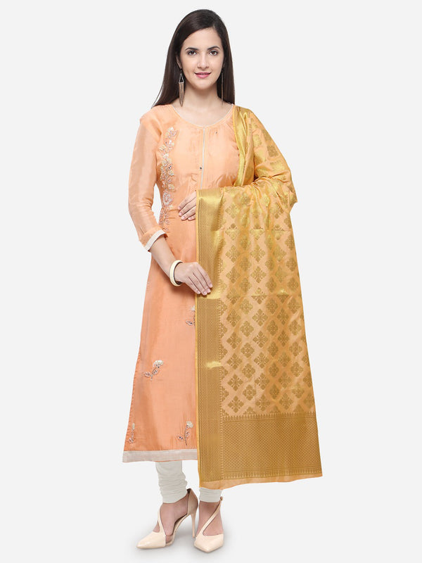 Light Orange  Embroidery Salwar Kameej With Baby Pink & Gold Banarasi Dupatta Muslin Cotton - Praneeli
