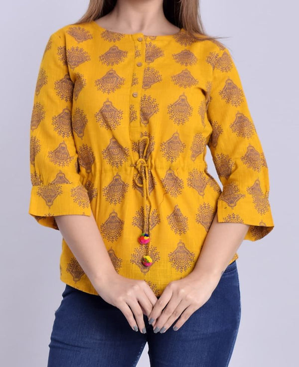 Yellow Short Cotton Top Casual Wear