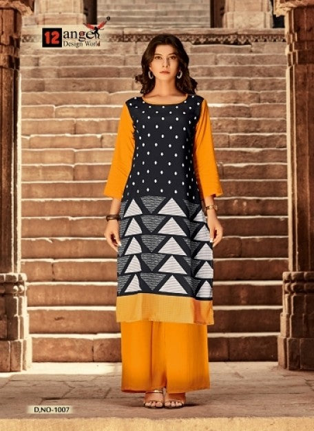 Orange & Black Trendy Rayon Kurtis with Palazzo  (Plazo,palazzos) Set - Praneeli