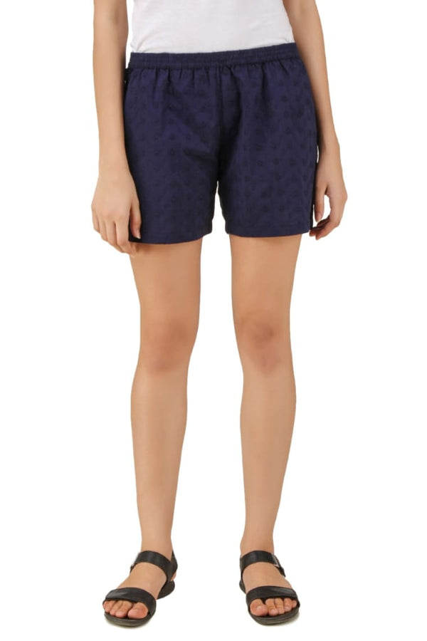 Navy Blue Cotton Floral Print Shorts Casual Wear